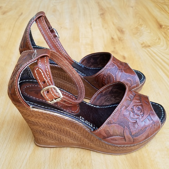 aa5d6e440159a Tooled Mexican Leather Peep Toe Wedge Sandals